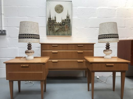Mid Century Style Light Oak Chest of Drawers and Matching Bedside Cabinets