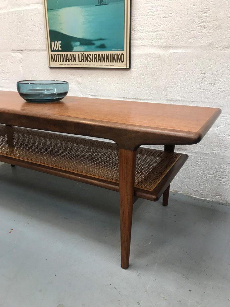 Norweigan Mid Century Coffee Table with Rattan Undershelf