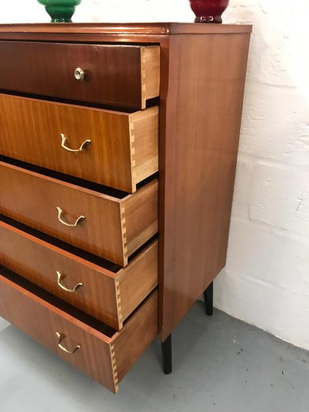 Vintage 1960s Mid Century Chest of Drawers on Dansette Legs