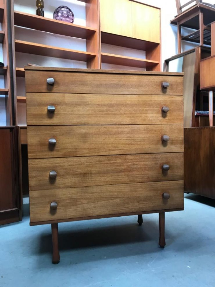 Vintage Mid Century AVALON Chest Of 5 Drawers  / TallBoy