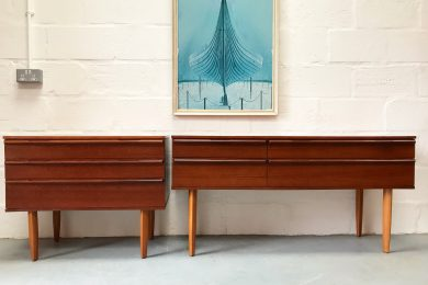 Bedroom / Living Room Set of Vintage 1960s Avalon 4 Drawer Sideboard / Console Table & 3 Drawer Chest