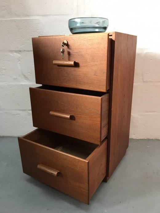 Vintage Retro Wooden Locking Filing Cabinet Drawers Cupboard