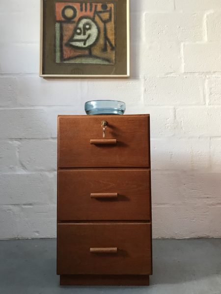 Vintage Retro Wooden Locking Filing Cabinet Drawers Cupboard