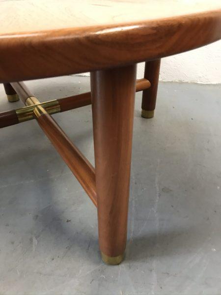 Vintage Retro G Plan Teak Circular Coffee Table With Smoked Glass Centre