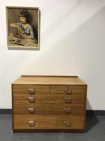 Retro Industrial Oak Chest of Drawers Military MOD 1970s