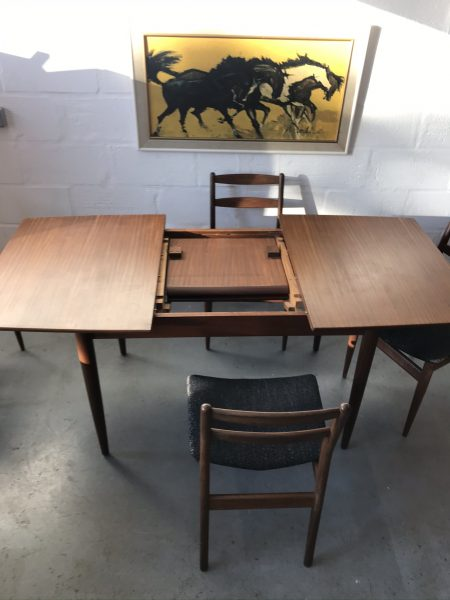 Vintage 1960s Mid Century Teak Extending Dining Table and & 4 Chairs by SCANDART