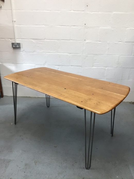 1960s Mid Century Ercol Plank Dining Table on Hairpin Legs