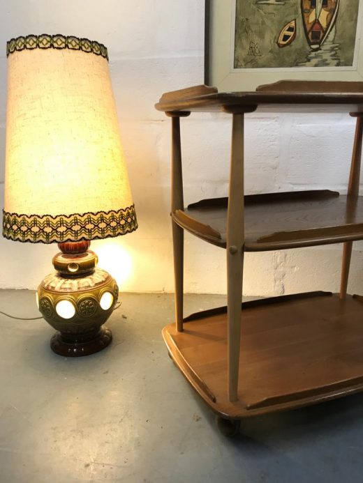 Mid Century 1960s Ercol 458 Windsor Elm & Beech Blond 3 Tier Hostess Drinks Trolley