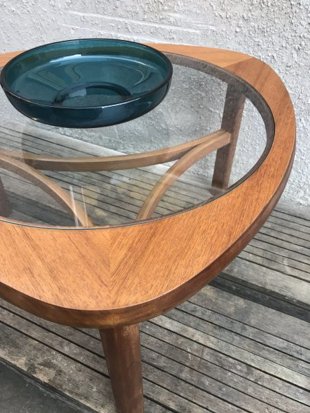 """Vintage Glass Topped Triangular """"Atomic"""" Coffee Table by Nathan"""