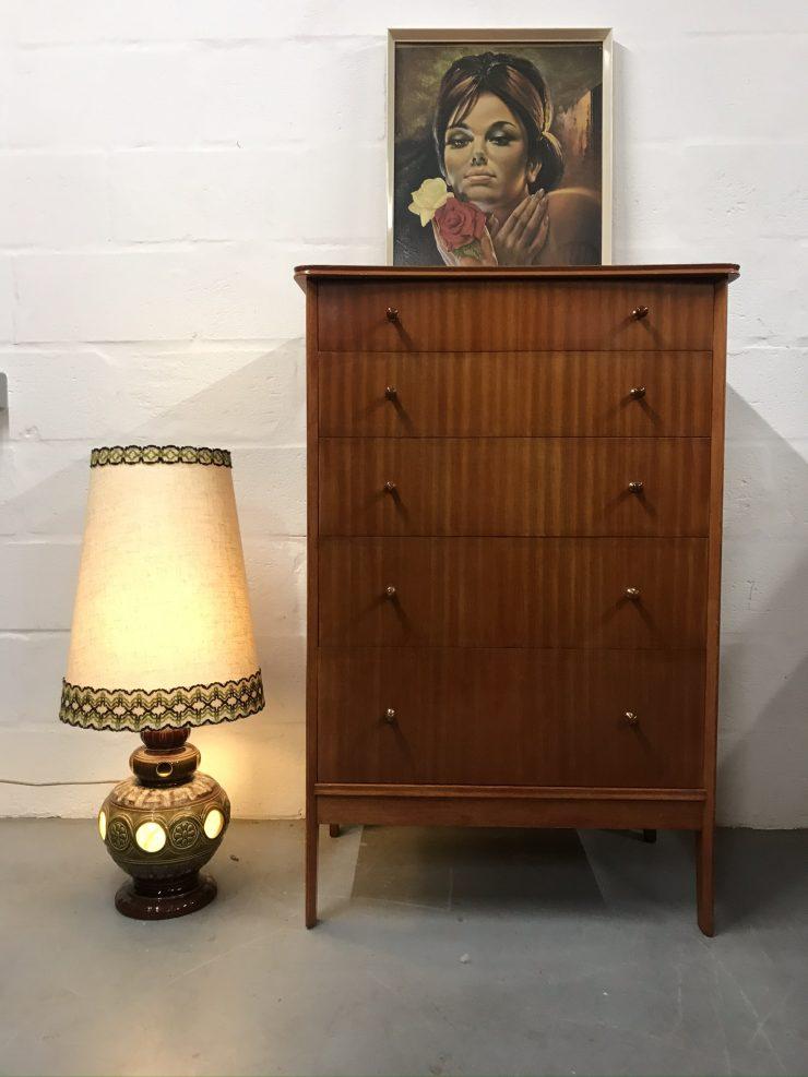 Mid Century Vintage VANSON Chest of 5 Drawers Tallboy
