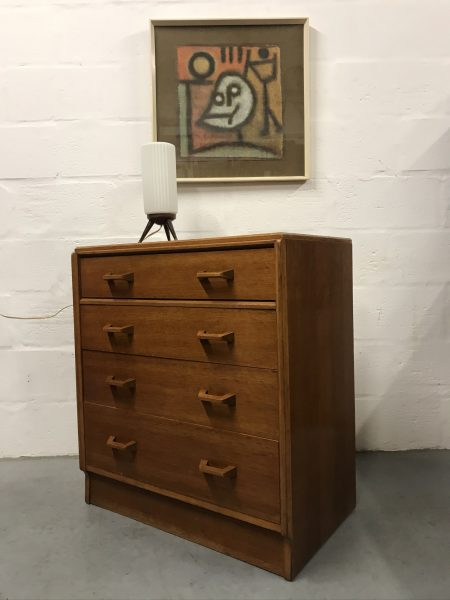 Mid Century G PLAN BRANDON 4 Drawer Chest of Drawers Light Oak