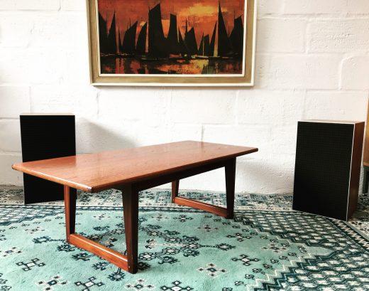 Vintage Sleigh Leg Teak Coffee Table Retro