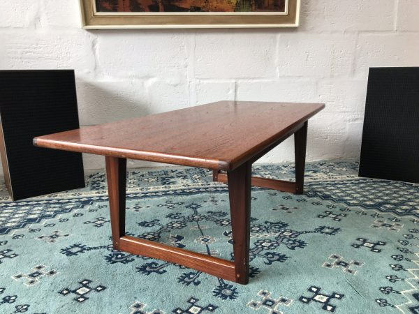 Vintage Sleigh Leg Teak Coffee Table Retro