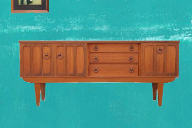Mid Century Danish Style Teak Sideboard with Wooden Ring Handles
