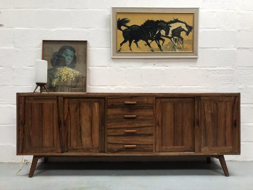 Vintage Walnut Long Modernist Style Sideboard