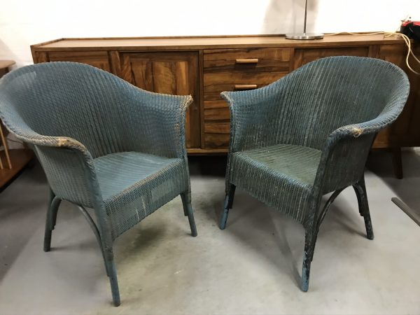 Pair of Lovely Vintage Mid Century Original Lloyd Loom Style Chairs CC41