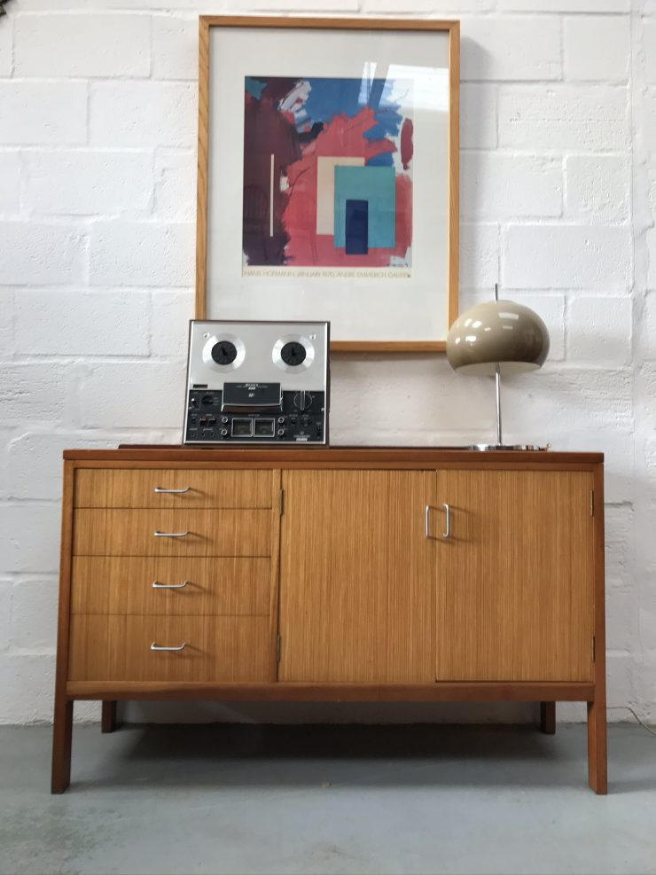 1970s Retro Industrial Oak Chest of Drawers / Sideboard Military MOD