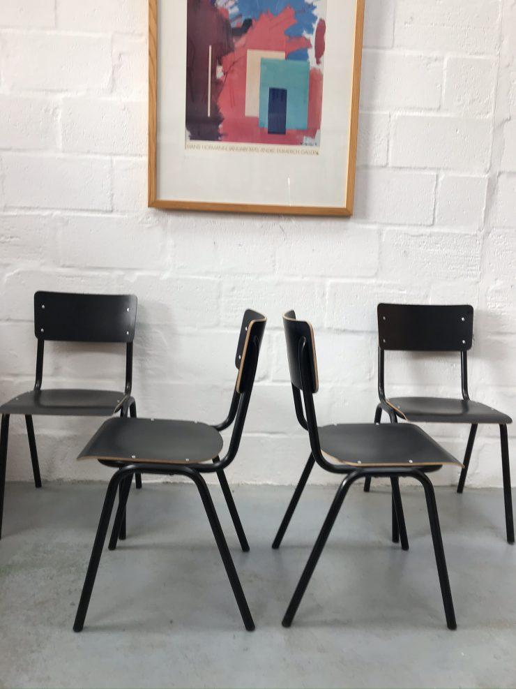 4 x Used Reproduction Retro Vintage Style Stackable School / Kitchen / Dining / Bistro Chairs