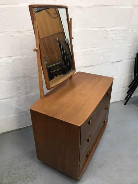 Vintage 1960's Rare Ercol 483 Windsor Dressing Chest with Tilting Mirror 3 Drawers Elm & Beech