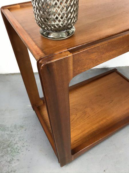 Mid Century Vintage Two-tier Teak Veneered Drinks / Tea Table by REMPLOY