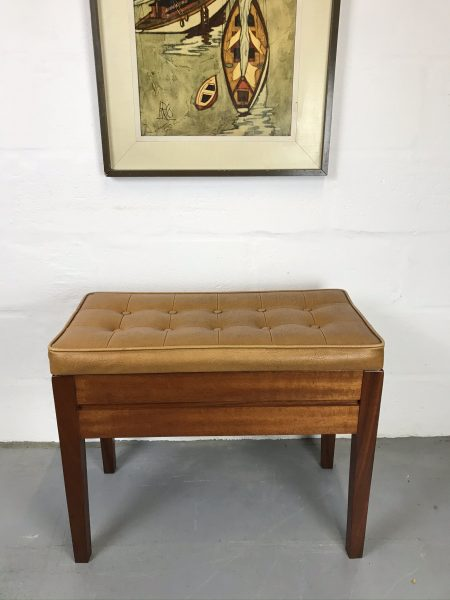 Vintage Retro Mid Century Piano Stool / Storage