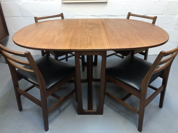 Vintage Mid Century Gate-Leg Teak Dining Table & Four Chairs