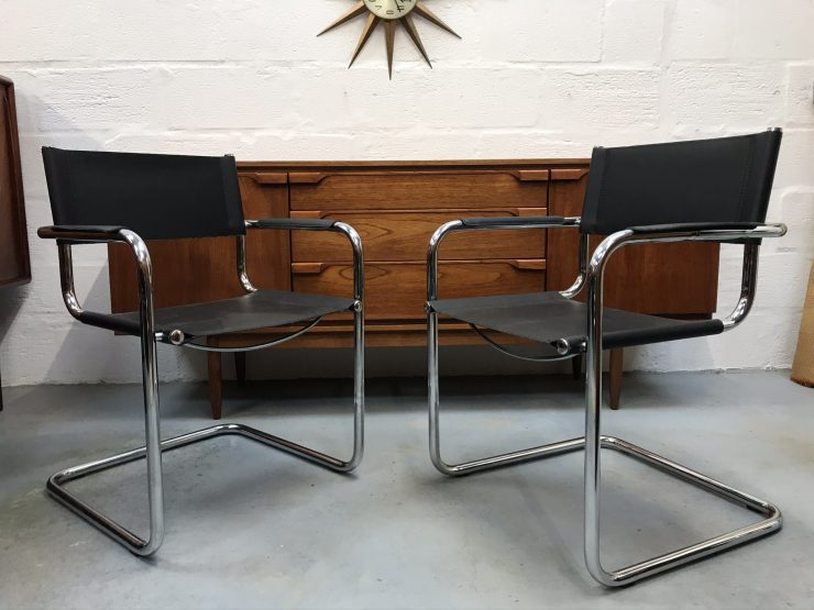 2 x Retro Style Italian Black Faux Leather & Chrome Chairs Bauhaus Style