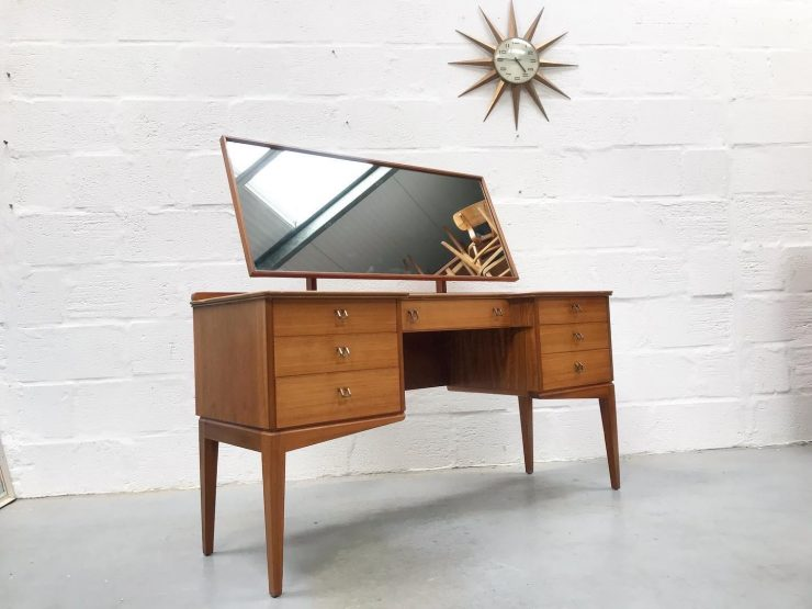 Vintage Mid Century Alfred Cox Dressing Table and Matching Bedside Cabinet