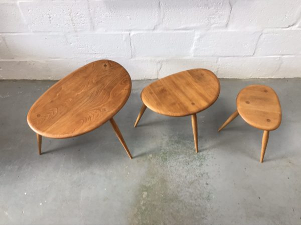 Vintage Mid Century Original Set of Ercol Pebble Nest of Table