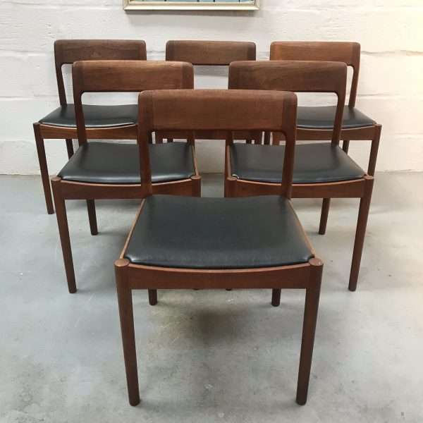 1960's Set of 6 Danish Teak Dining Chairs by Norgaards & Danish Dining Table