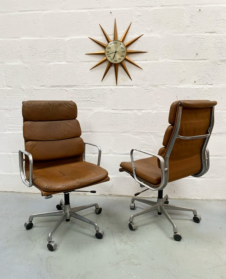 Pair of Original Eames by Herman Miller Soft Pad Lounge Chairs