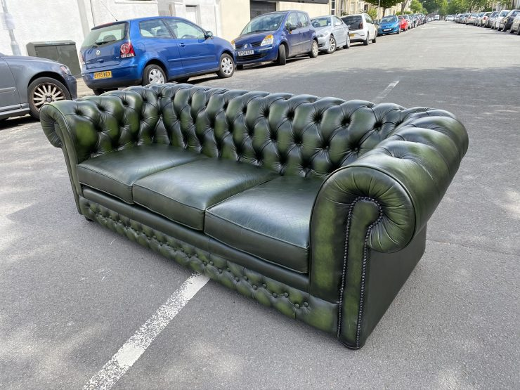Thomas Lloyd Quality Green Leather Chesterfield Style 3 Seater Sofa Antique Style