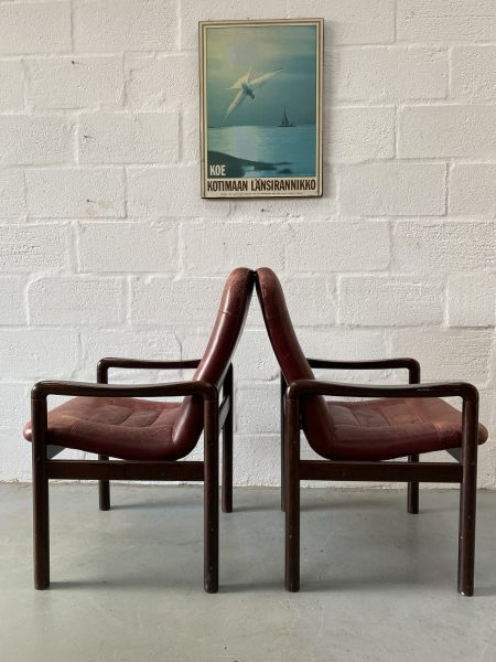 Pair of Danish Vintage Dyrlund Chairs Leather and Rosewood