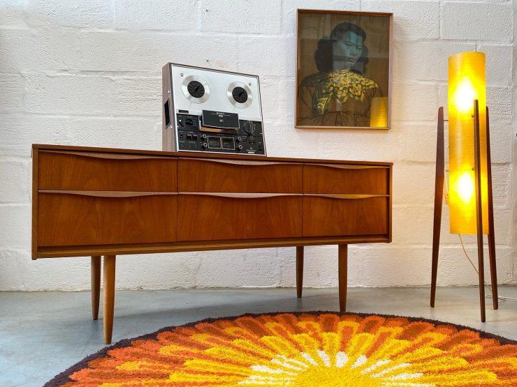 Vintage 1960s Austinsuite Slim Sideboard / Chest of Drawers