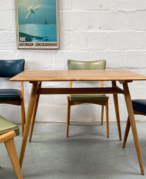 4 x Mid Century 1960s Stoe Ben Dining Chairs & Ercol 393 Table