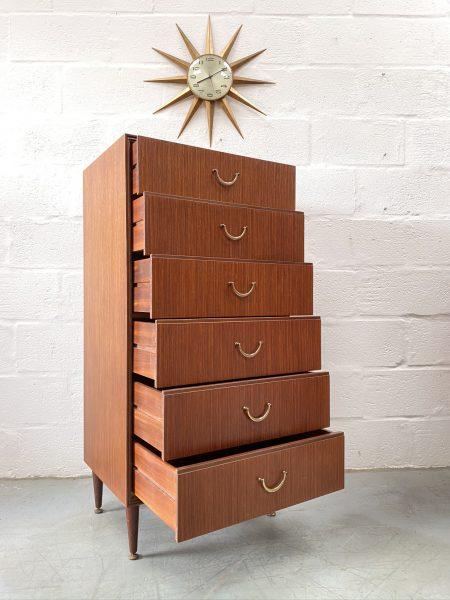 1960s Vintage MEREDEW Tallboy / Chest of Drawers