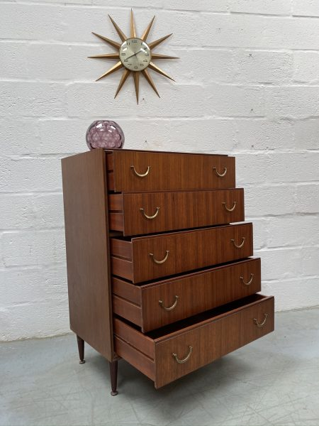 Vintage Mid Century Teak Chest of 5 Drawers by Meredew