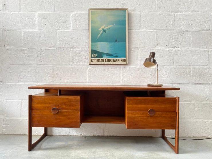 Mid Century Floating Top Danish Style Teak Desk