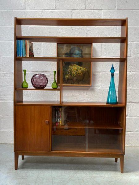 Vintage Mid Century Danish Inspired Teak Room Divider / Wall Unit