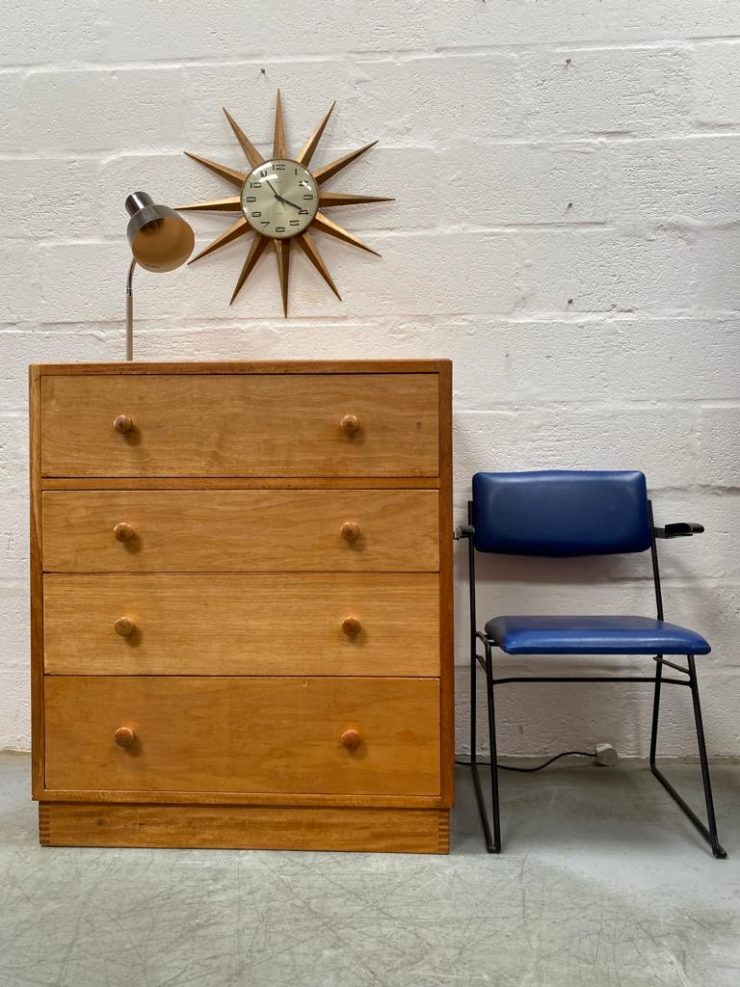 Vintage Papworth Air Ministry Mid Century Oak Chest of Drawers / Bureau / Desk
