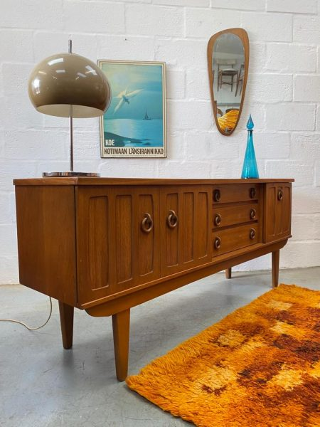 Danish Style Mid Century Teak Sideboard with Wooden Ring Handles