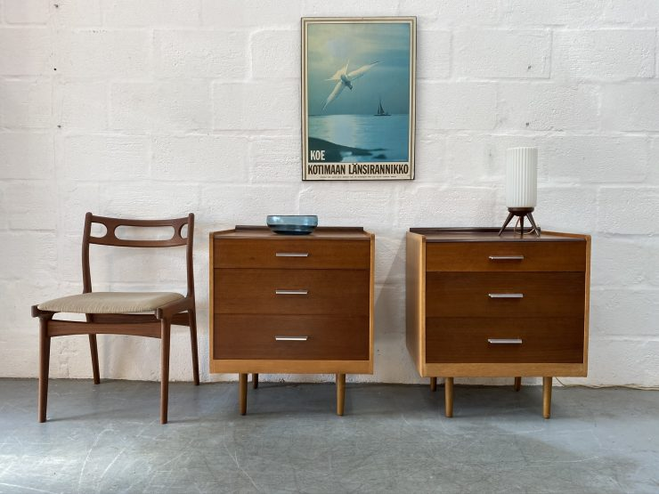 Matching Pair of Vintage Small Chest of Drawers / Bedside Drawers by Stag