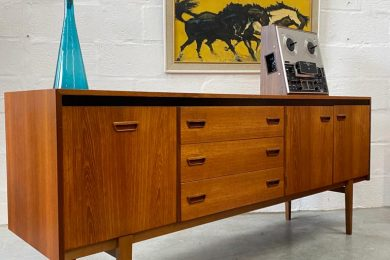 Vintage Mid Century 1960s Teak Sideboard by British Maker Castle
