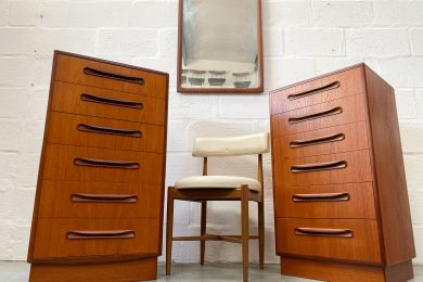 Pair of Vintage Classic G Plan 'Fresco' Tallboy / Chest of Drawers