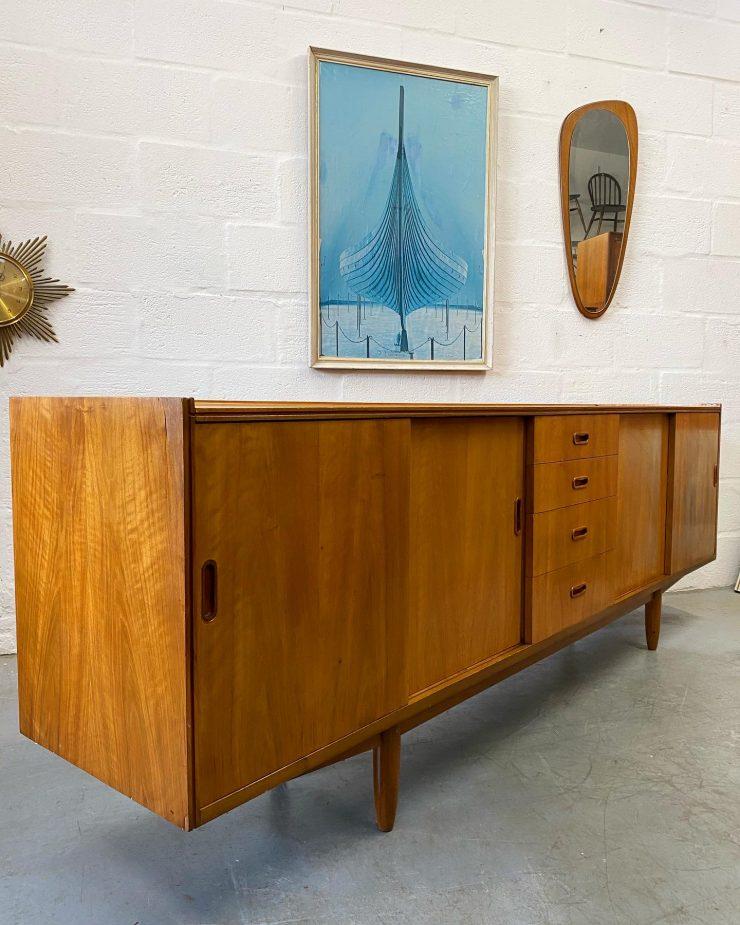 Retro Vintage Long 'Scandinavian Style' Teak Sideboard