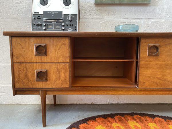 Vintage Mid Century Bath Cabinet Makers (BCM) Teak Sideboard