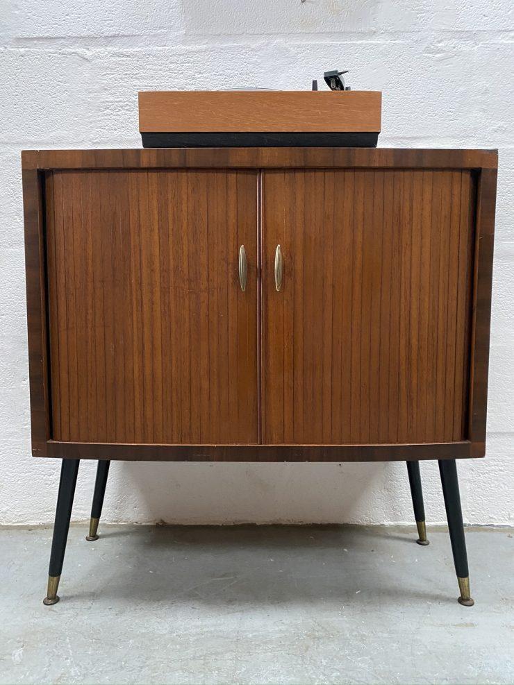 Vintage Mid Century Tambour Door Record / Storage Cabinet