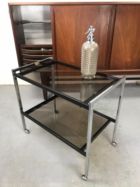 Vintage MDA Chrome Drinks Trolley 1970s