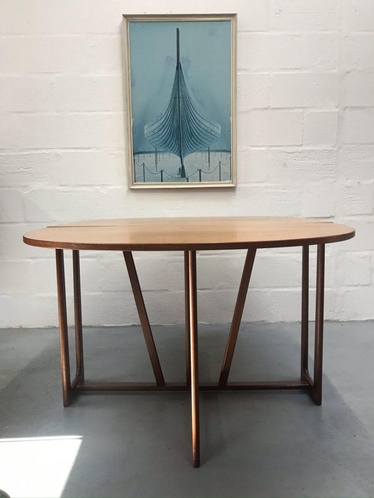 Vintage Mid Century Danish Style Gate-Leg Teak Dining Table