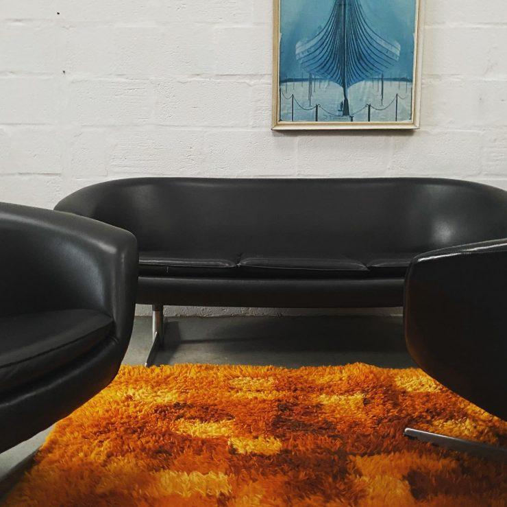 1960s / 70s Swedish Black Vinyl Sofa & Armchairs Pod Set by Carl Eric Klote for Overman